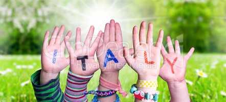 Children Hands Building Word Italy, Grass Meadow