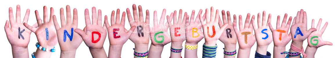 Hands Building Kindergeburtstag Means Kids Birthday Party, Isolated Background