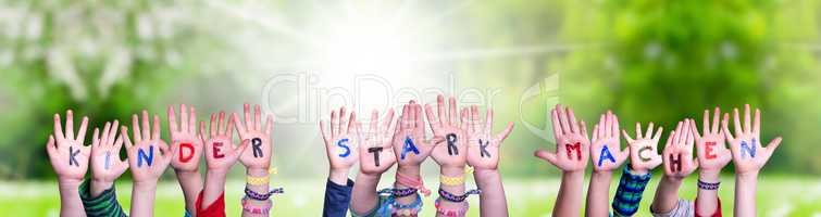 Children Hands, Kinder Stark Machen Means Strengthen Children, Grass Meadow