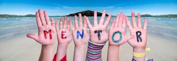 Children Hands Building Word Mentor, Ocean Background
