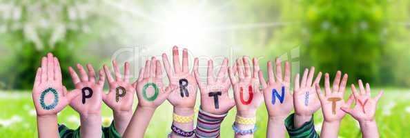 Children Hands Building Word Opportunity, Grass Meadow