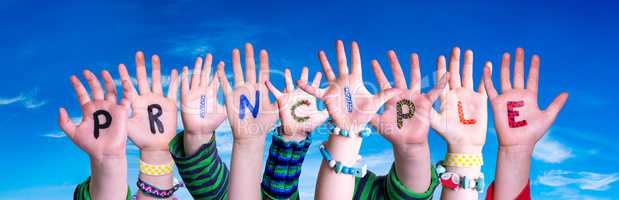 Children Hands Building Word Principle, Blue Sky