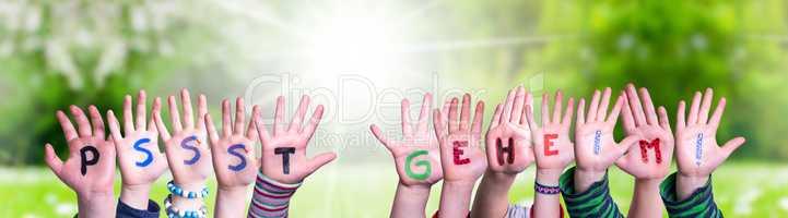 Children Hands Building Word Pssst Geheim Means Pssst Secret, Grass Meadow