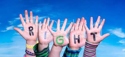 Children Hands Building Word Right, Blue Sky