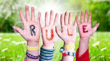 Children Hands Building Word Rule, Grass Meadow