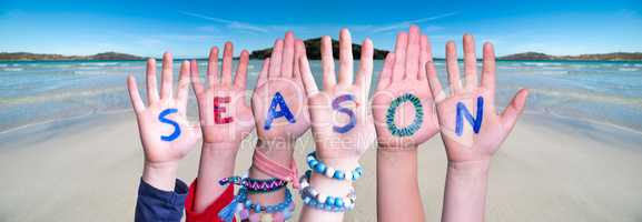 Children Hands Building Word Season, Ocean Background