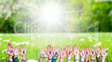 Children Hands, Wir Gratulieren Mean Congratulations, Grass Meadow