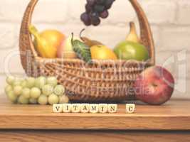 Small wooden blocks with the words vitamin C