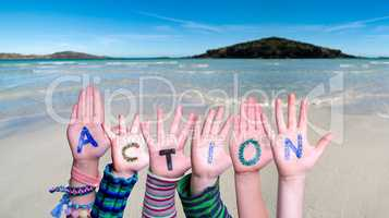 Children Hands Building Word Action, Ocean Background
