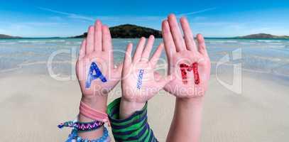 Children Hands Building Word Aim, Ocean Background