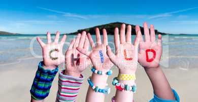 Children Hands Building Word Child, Ocean Background