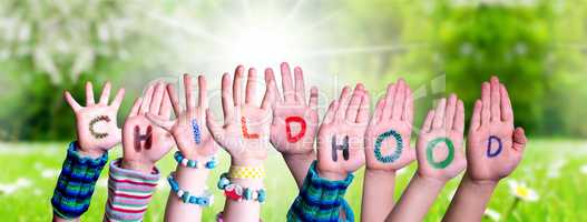 Children Hands Building Word Childhood, Grass Meadow