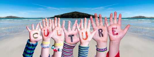 Children Hands Building Word Culture, Ocean Background