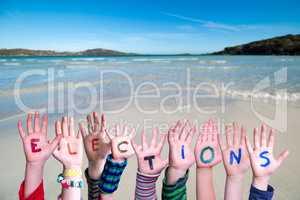 Children Hands Building Word Elections, Ocean Background