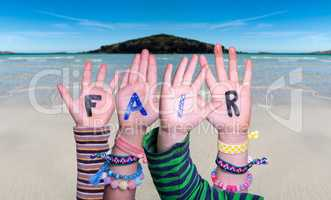 Children Hands Building Word Fair, Ocean Background