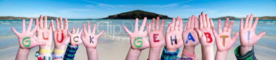 Children Hands Building Word Glueck Gehabt Means Lucky, Ocean Background