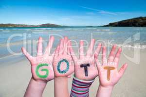 Children Hands Building Word Gott Means God, Ocean Background