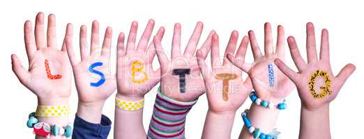 Children Hands Building Word LSBTTIQ Means LSBTQ, Isolated Background