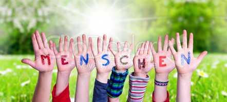 Children Hands Building Word Menschen Means Human, Grass Meadow