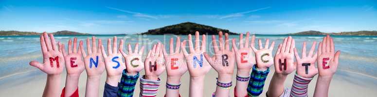 Children Hands Building Word Menschenrechte Means Human Rights, Ocean Background