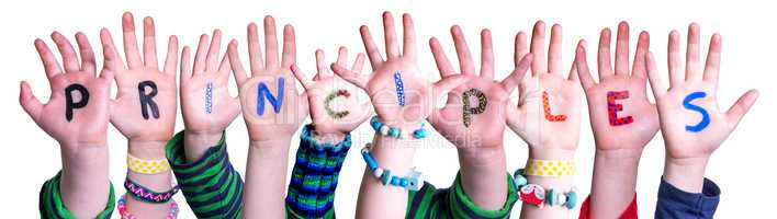 Children Hands Building Word Principles, Isolated Background