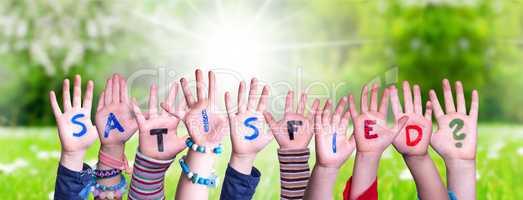 Children Hands Building Word Satisfied, Grass Meadow