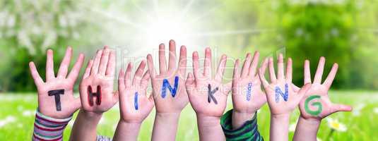 Children Hands Building Word Thinking, Grass Meadow
