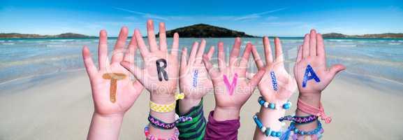 Children Hands Building Word Trivia, Ocean Background