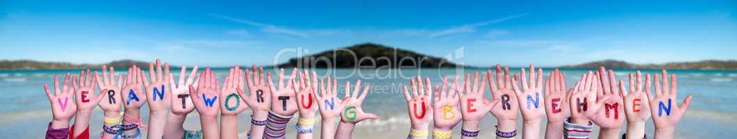 Children, Verantwortung Uebernehmen Mean Take Resposibility, Ocean Background