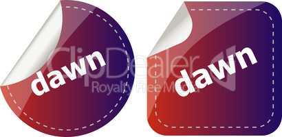 dawn word stickers web button set, label, icon