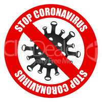 2019-nCoV Novel coronavirus bacteria. Coronavirus icon and red prohibit sign. Stop coronavirus. No infection. Dangerous coronavirus cell in Wuhan China. Isolated on white stop coronavirus icon