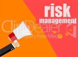flat design concept. risk management. Digital marketing business man holding megaphone for website and promotion banners.