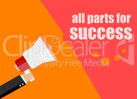 All parts for success. Flat design business concept Digital marketing business man holding megaphone for website and promotion banners.