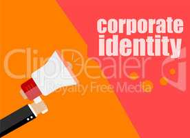 corporate identify. Flat design business concept Digital marketing business man holding megaphone for website and promotion banners