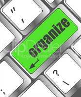 word organize on enter computer keyboard key