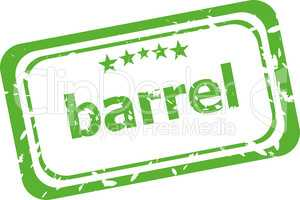 barrel on rubber stamp over a white background