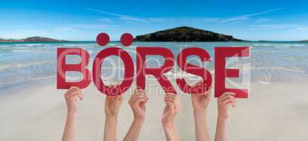 People Hands Holding Word Boerse Means Stock Market, Ocean Background