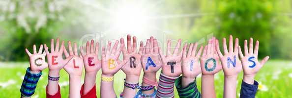 Children Hands Building Word Celebrations, Grass Meadow