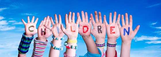 Children Hands Building Word Children, Blue Sky