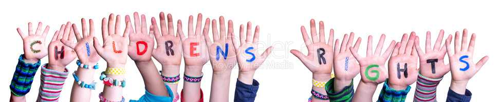 Children Hands Building Word Children Rights, Isolated Background