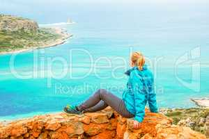 Woman On Viewpoint Above Balos Bay On Kreta