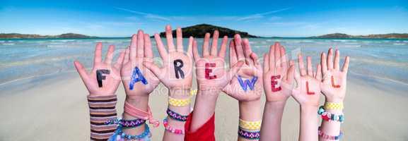 Children Hands Building Word Farewell, Ocean Background