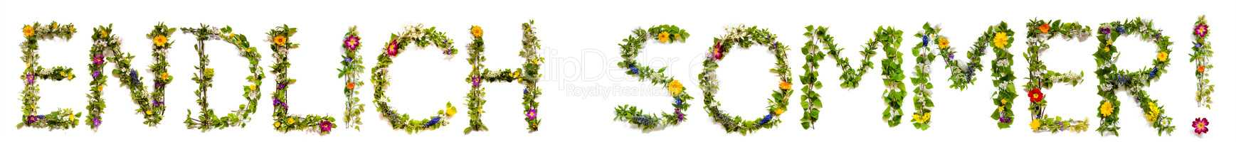 Flower And Blossom Letter Building Word Endlisch Sommer Means Finally Summer