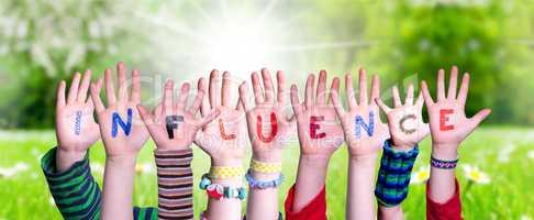 Children Hands Building Word Influence, Grass Meadow