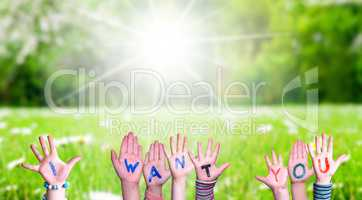 Children Hands Building Word I Want You, Grass Meadow