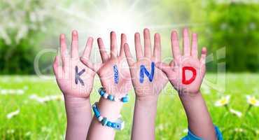Children Hands Building Word Kind Means Kid, Grass Meadow