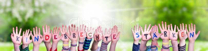 Kids Hands, Kinderrechte Staerken Means Strengthen Children Rights, Grass Meadow