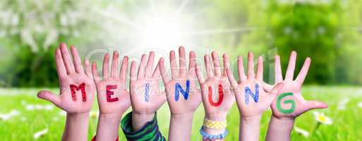 Children Hands Building Word Meinung Means Opinion, Grass Meadow