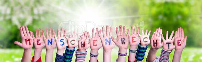 Children Hands Building Word Menschenrechte Means Human Rights, Grass Meadow