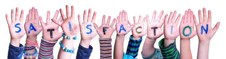 Children Hands Building Word Satisfaction, Isolated Background